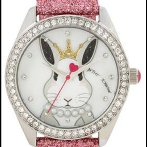 Betsey Johnson XO Princess Bunny Rabbit Pink Watch